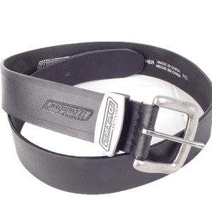"DICKIES mens 1.5"" Black Leather Belt Size 32"